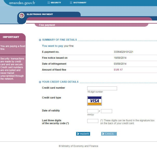 Сайт французского Министерства финансов для оплаты автомобильных штрафов - ввод данных банковской карты
