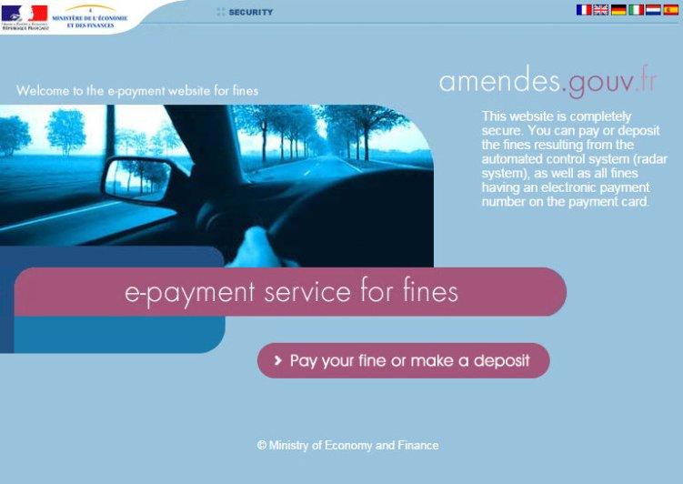 Сайт французского Министерства финансов для оплаты автомобильных штрафов