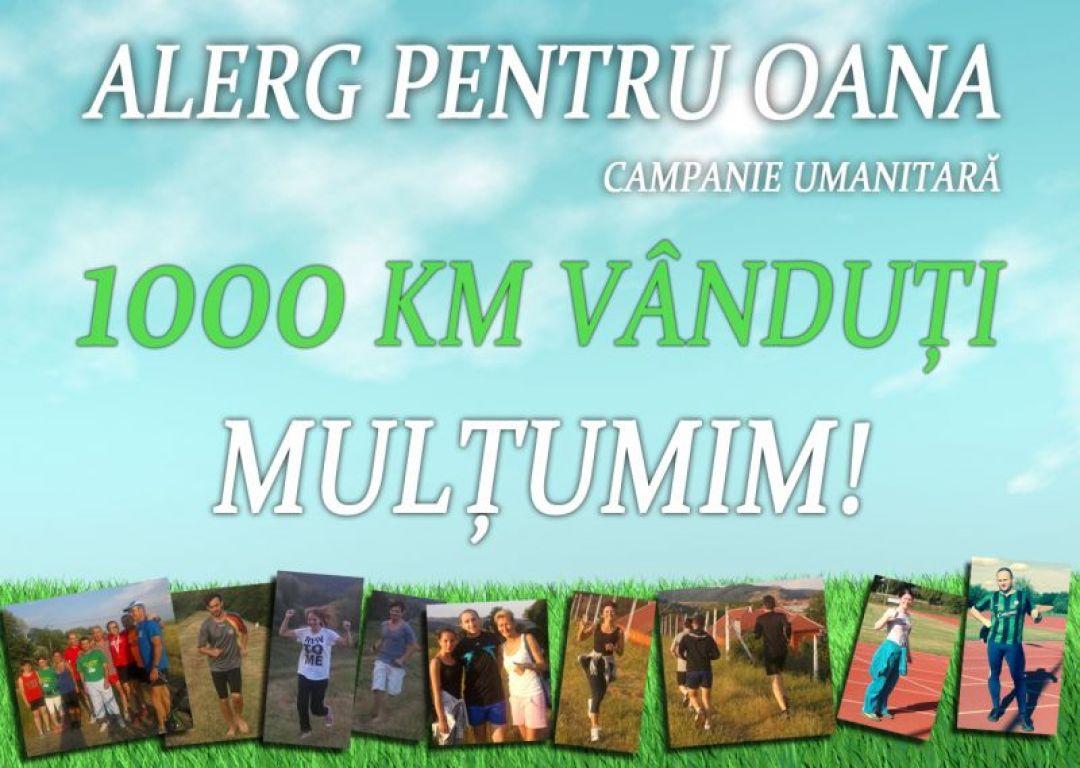 1000km vanduti campania umanitară alerg pentru oana