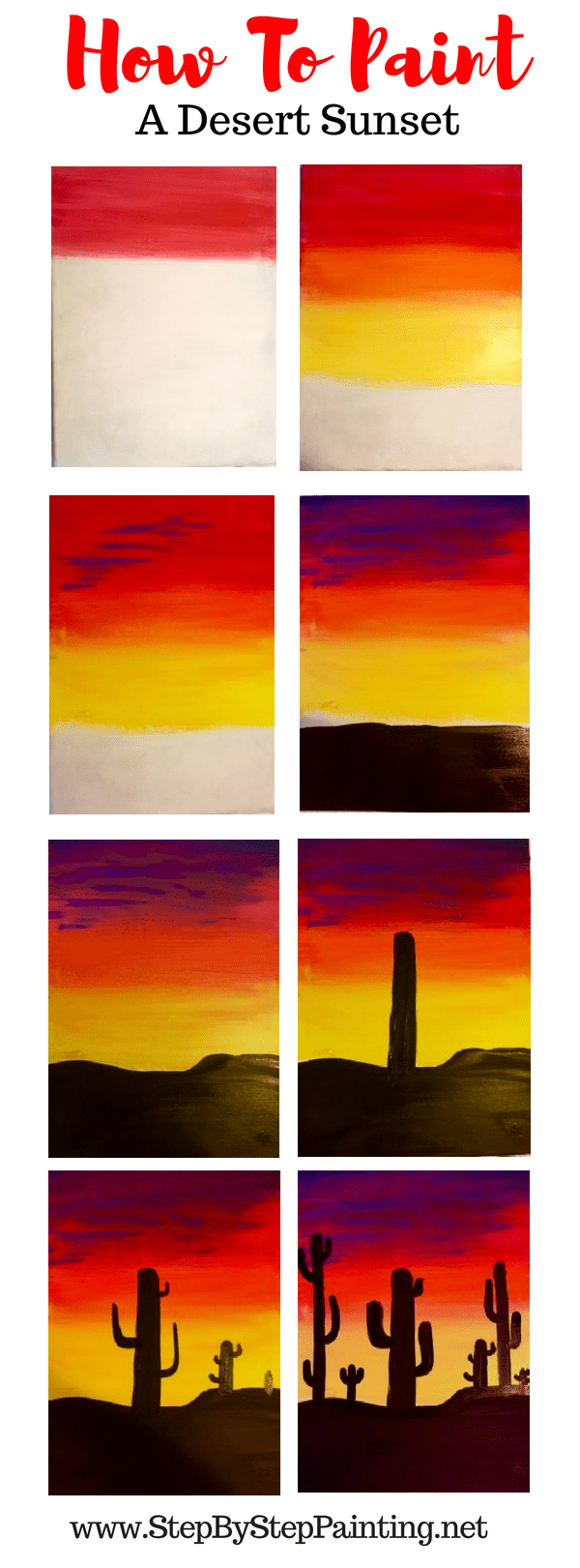 How To Paint A Cactus Silhouette Sunset - Step by Step ...