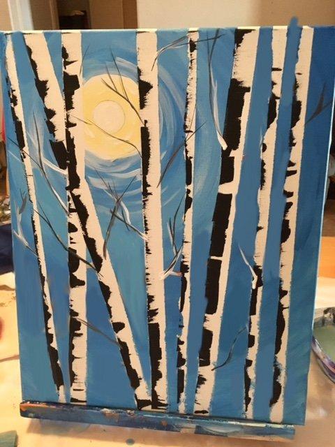 art birch trees painting