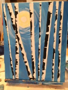 art birch trees painting