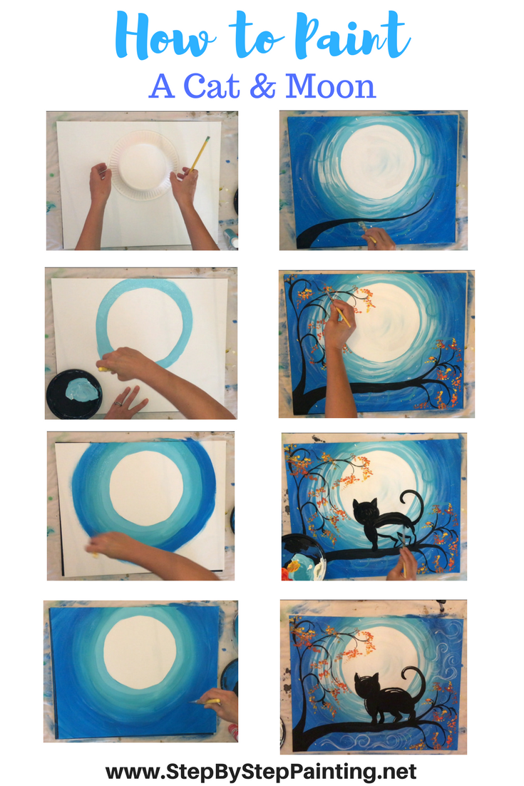 How to Paint a Cat and Moon - Tracie's Acrylic Canvas ...