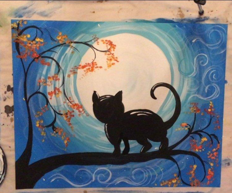 cat painting acrylic