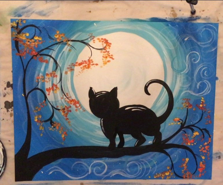 cat painting acrylic