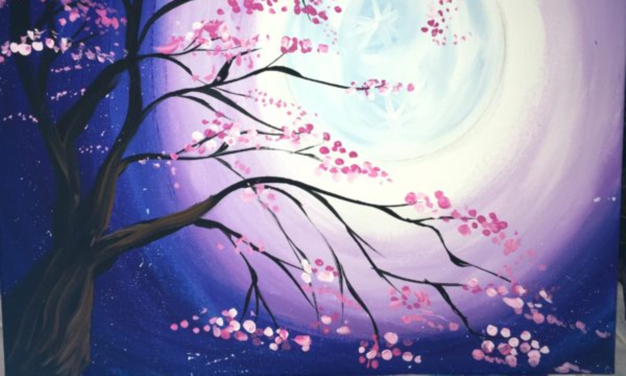 How To Paint A Cherry Blossom Tree With Moon - Step By