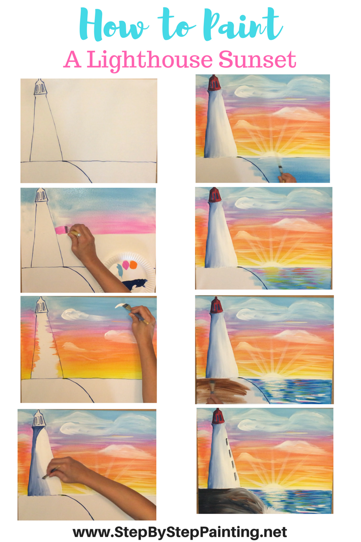 How To Paint A Lighthouse Sunset Tracie S Acrylic Canvas