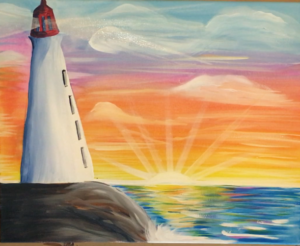 sunset painting easy