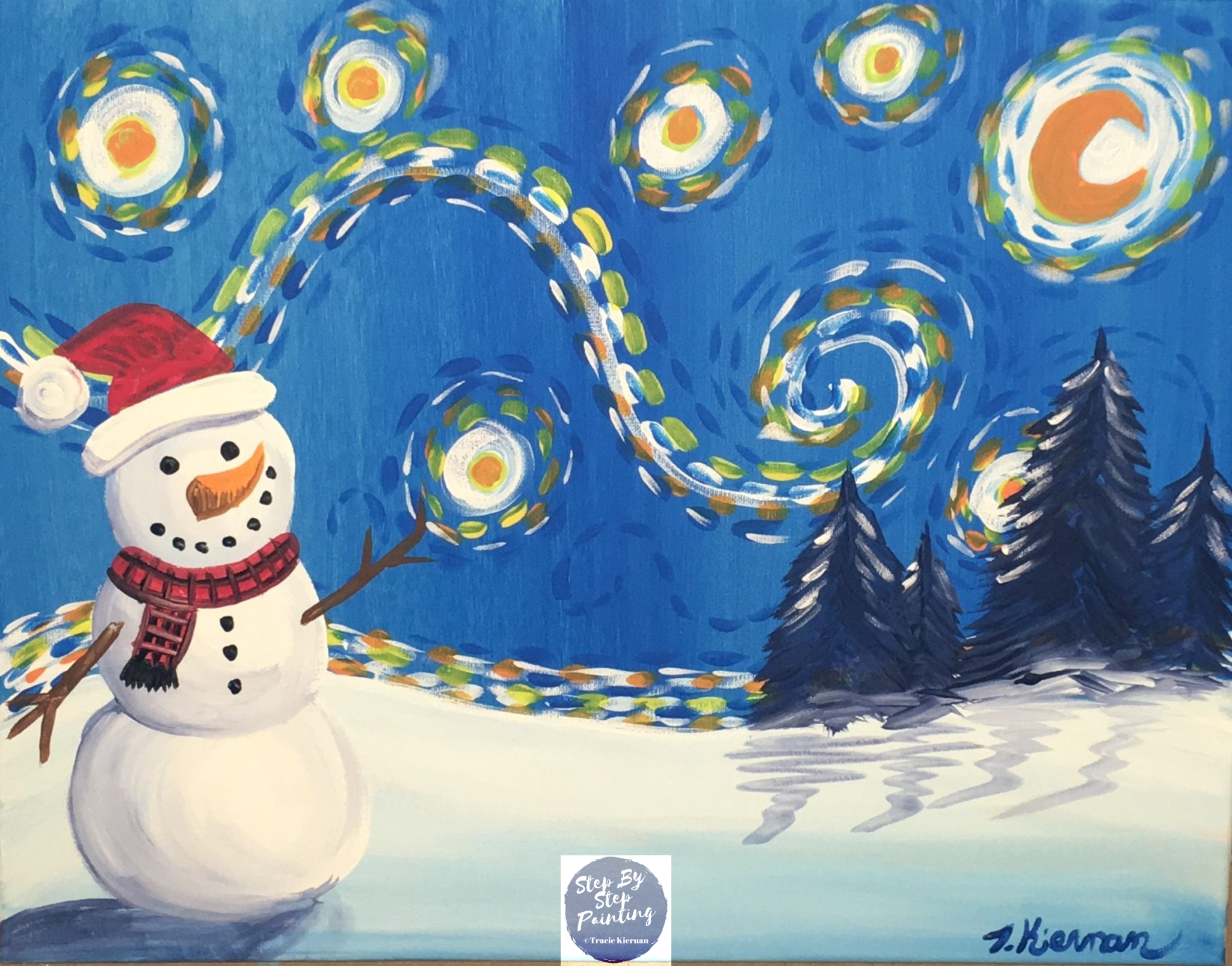 How to paint a snowman starry night step by step painting for How to paint snowmen