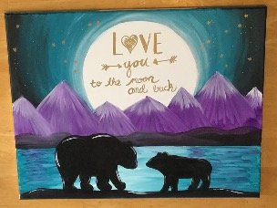mountain painting with bear silhouette, i love you to the moon and back