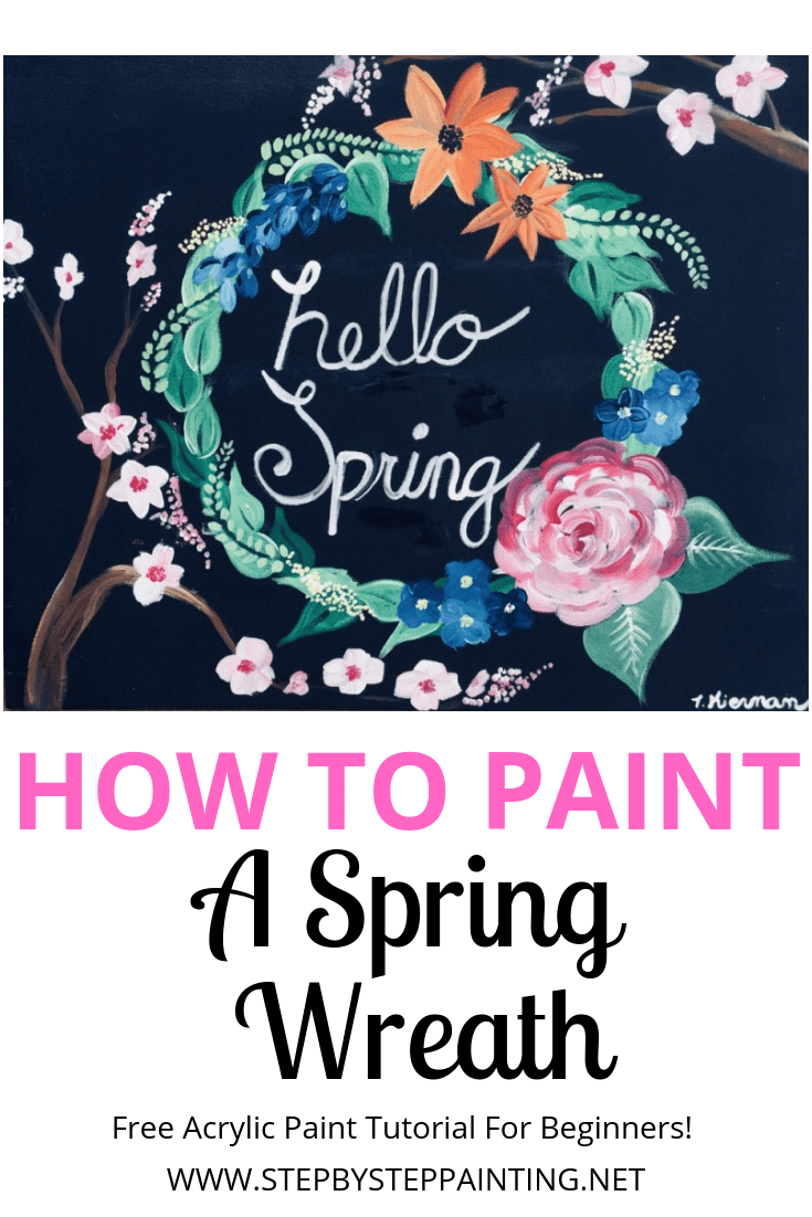 How To Paint A Wreath On Canvas Acrylic Painting Step By Step Tutorial
