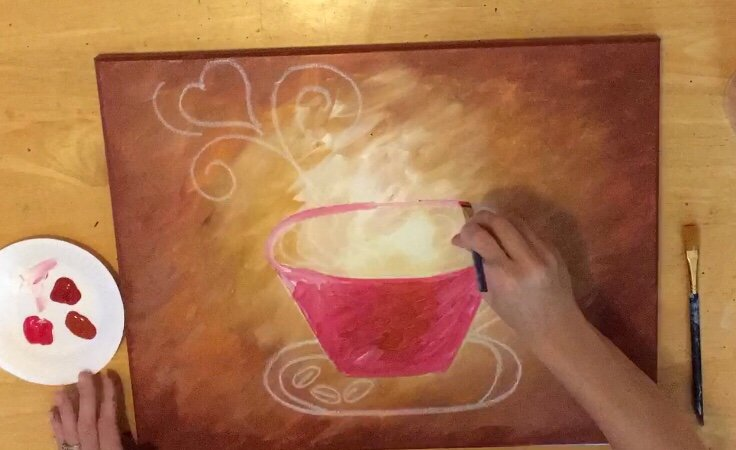 Coffee Painting Canvas Diy Acrylic Step By For Beginners Stepbysteppainting Tracie