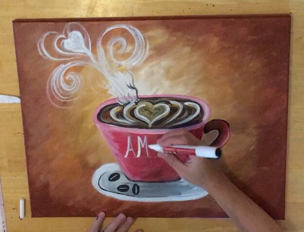 coffee painting canvas diy acrylic step by step for beginners #stepbysteppainting #tracie