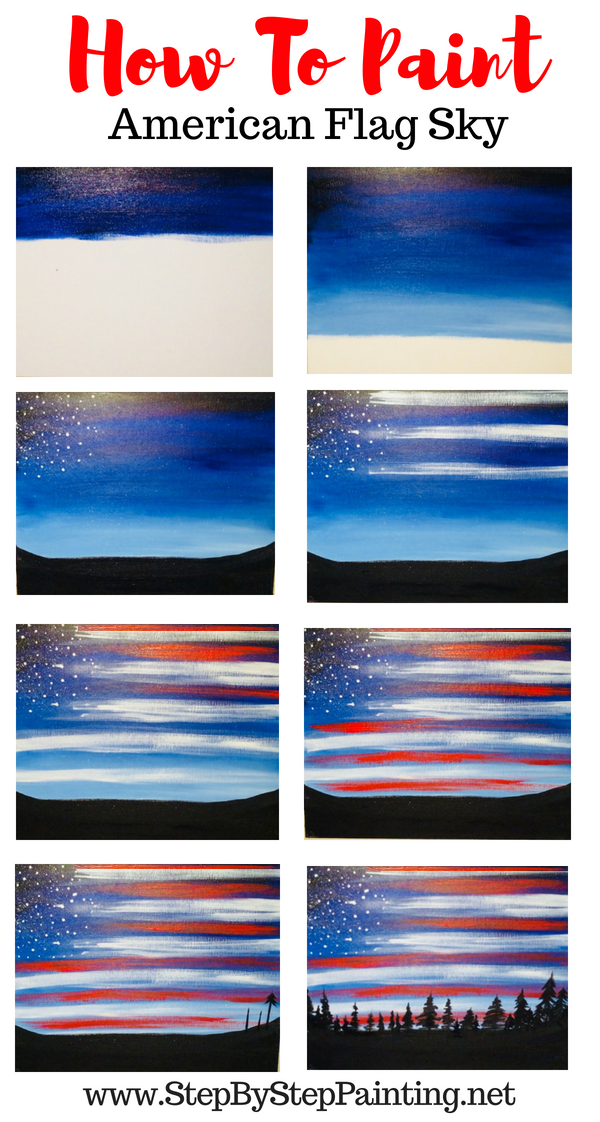 How To Paint American Flag Sky Step By Step Painting