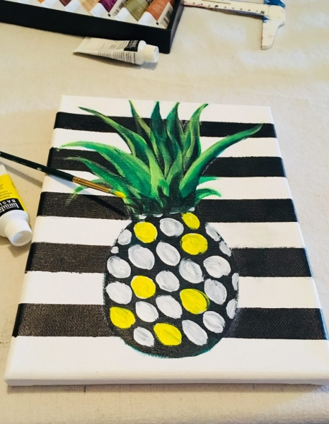 Easy fun step by step painting for beginners, kids, pineapple party #stepbysteppainting #kidspainting #pineappleparty #pineapple
