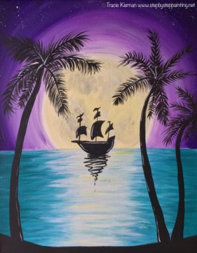 Tropical Moon With Ship