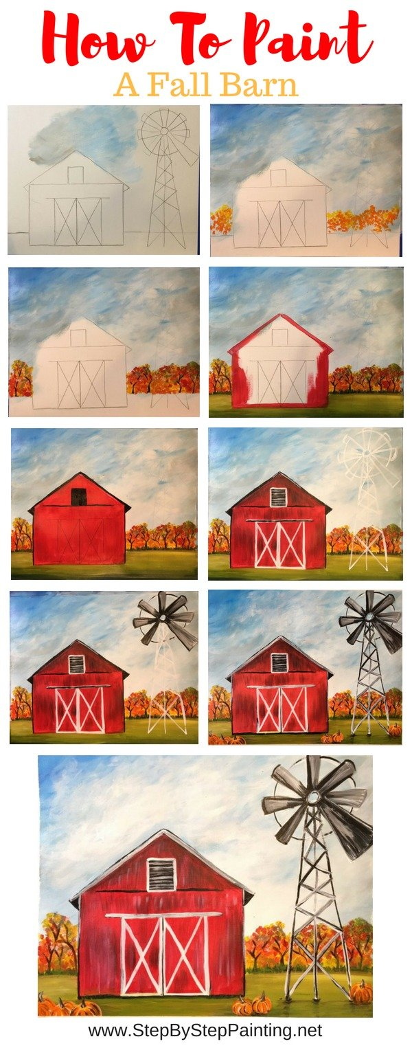 How To Paint A Fall Barn - Step By Step Painting