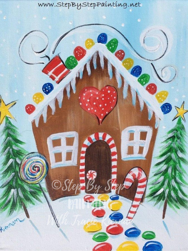 How To Paint A Gingerbread House Step By Step Painting With Tracie Kiernan