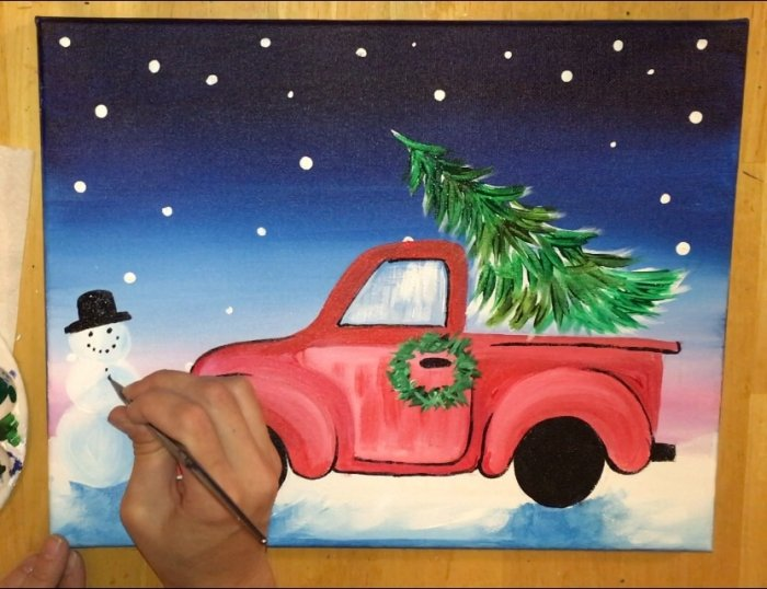 How To Paint A Christmas Tree Truck Step By Step Painting With Tracie Kiernan