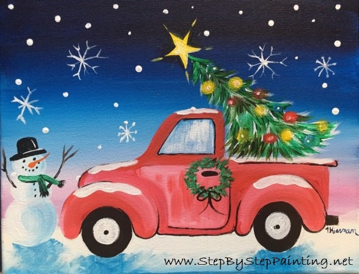 Old Truck With Christmas Tree.How To Paint A Christmas Tree Truck Step By Step Painting