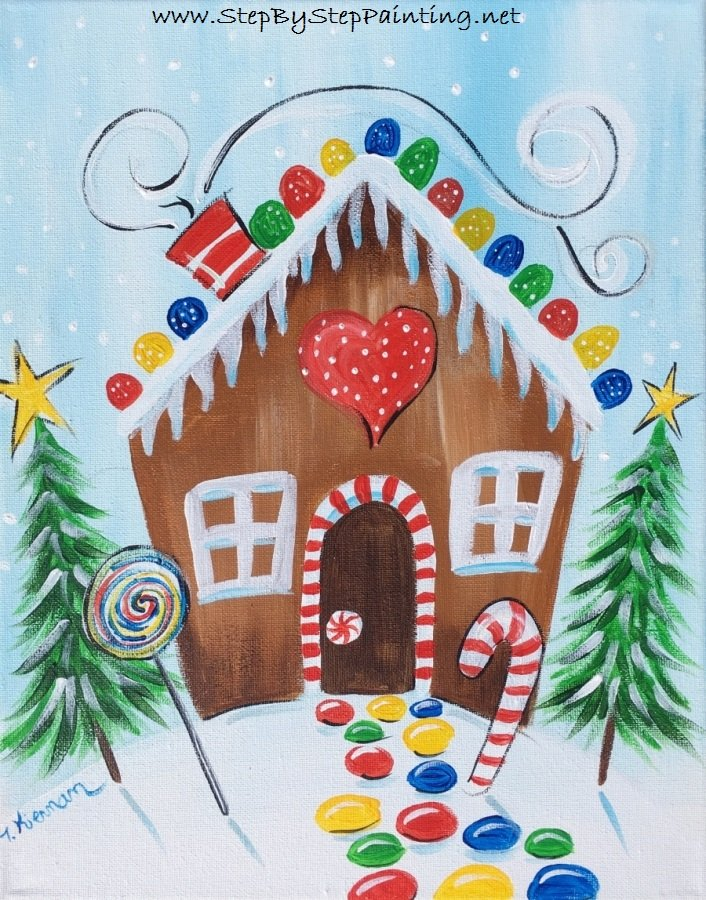 Christmas Paintings For Kids.How To Paint A Gingerbread House Step By Step Painting