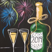 New Years Black Canvas Painting