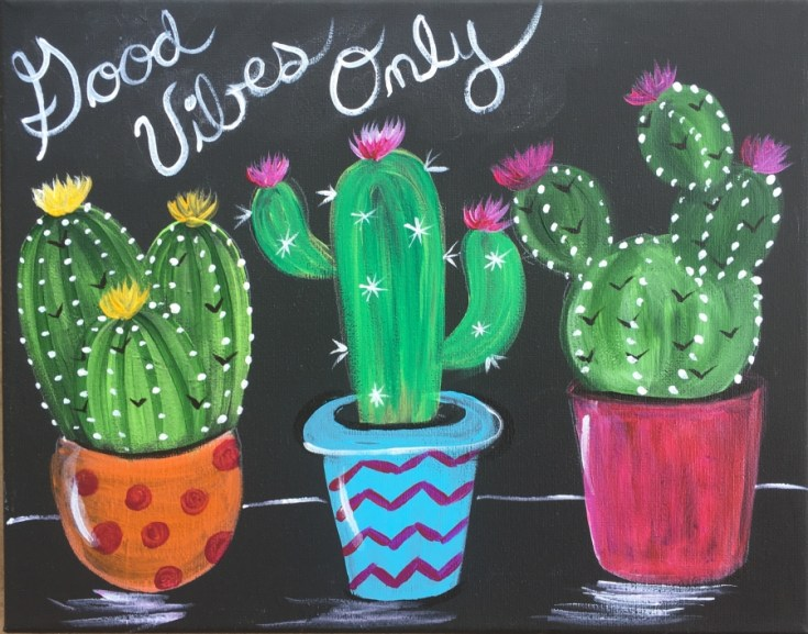 How To Paint Cacti In Pots Black Canvas