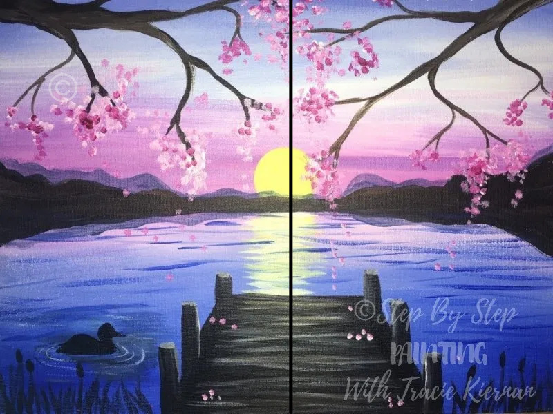 How To Paint A Sunset Lake Pier Step By Step Painting With Tracie Kiernan