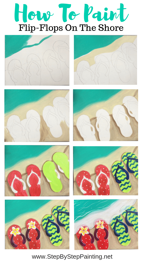 How To Paint Flip Flops On The Shore Step By Step Painting