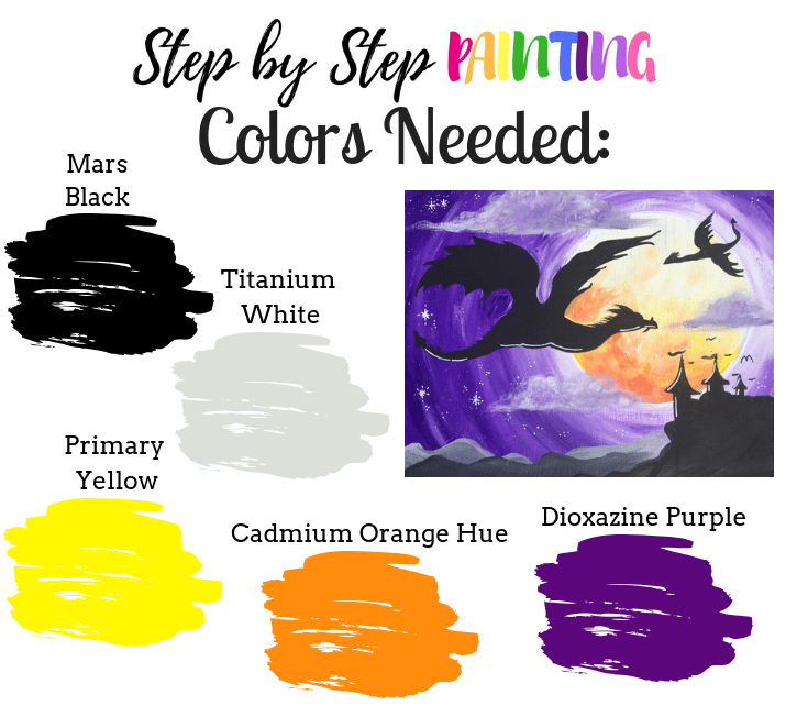 color palette for dragon silhouette painting