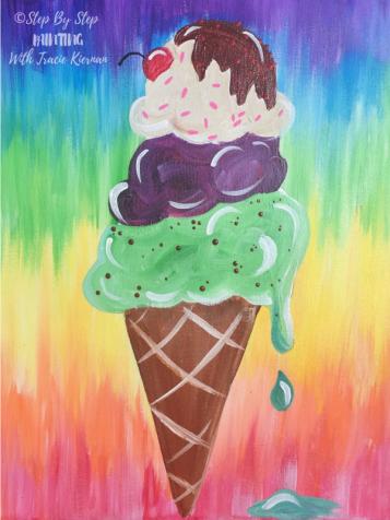 Ice Cream Cone Rainbow Background