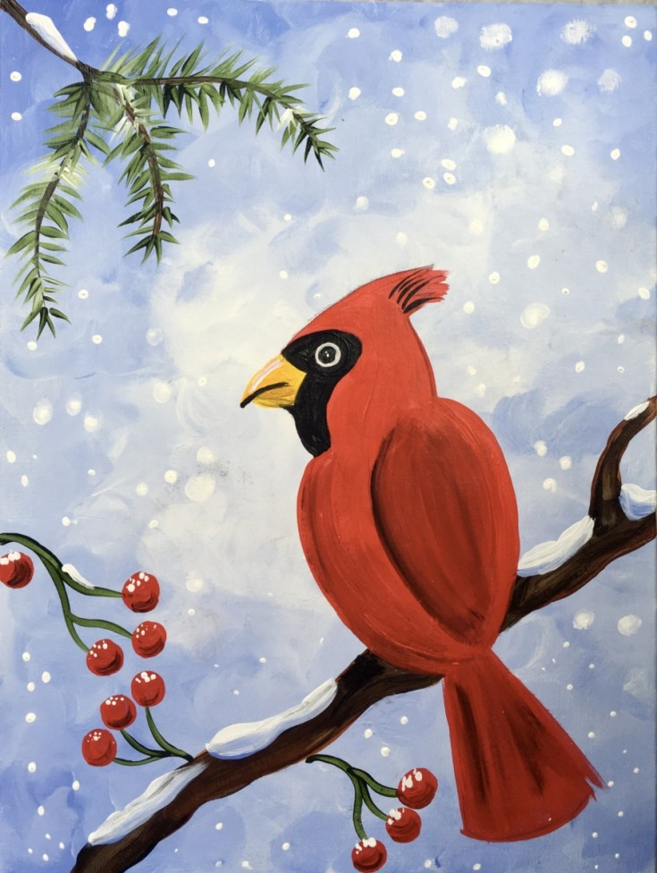 How To Paint A Snowy Cardinal
