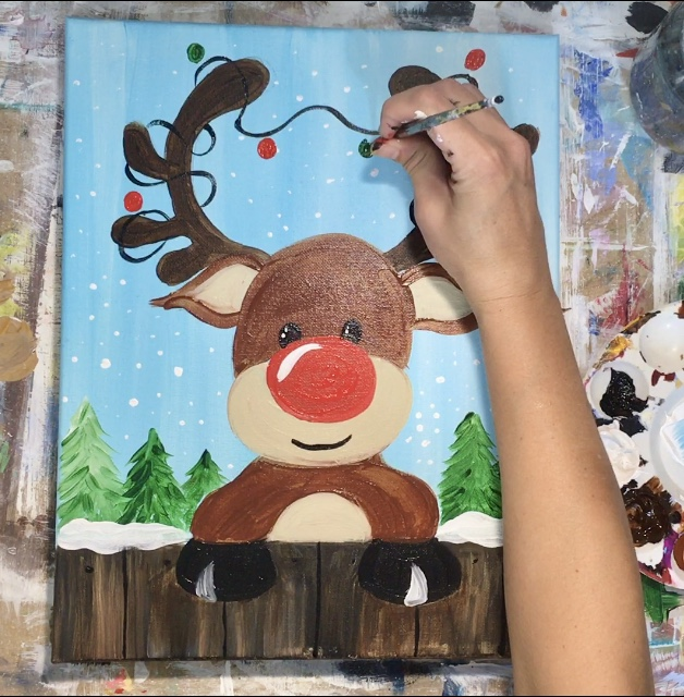 How To Paint A Cute Rudolph Step By Step Painting