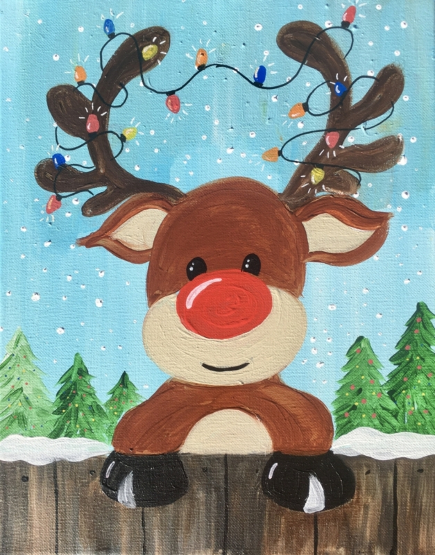 How To Paint A Cute Rudolph , Step By Step Painting