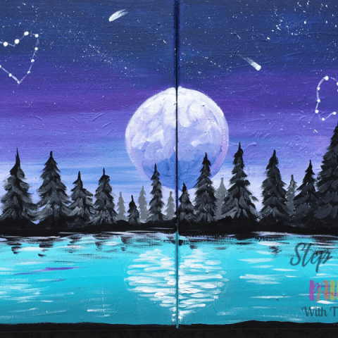 Couples Painting - Night Landscape