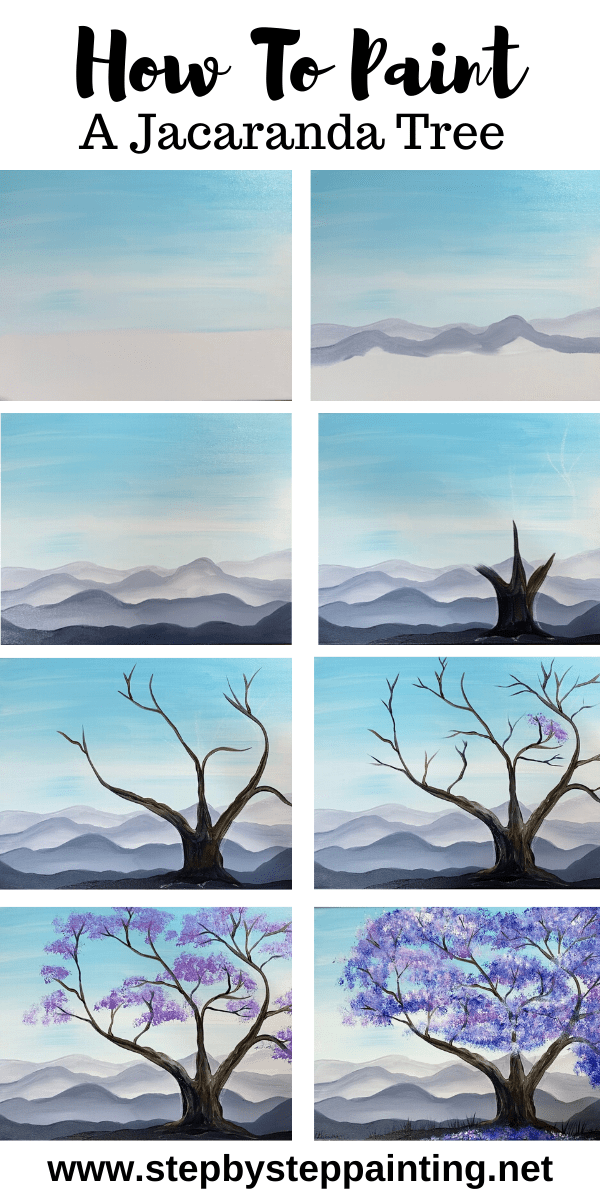 How to paint a Jacaranda tree