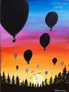 Hot Air Balloon Sunset Painting