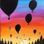 Hot Air Balloon Sunset Painting
