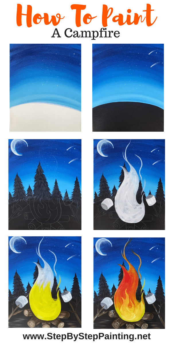 Campfire Painting Step By Step Acrylic Tutorial For Beginners