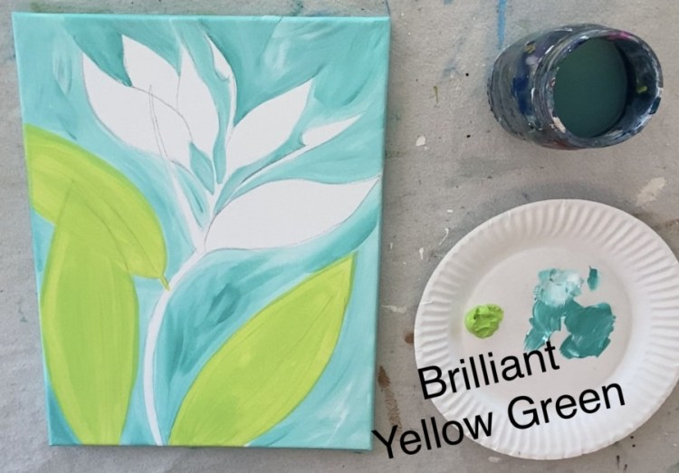 Leaves of the bird of paradise painting are painted brilliant yellow green