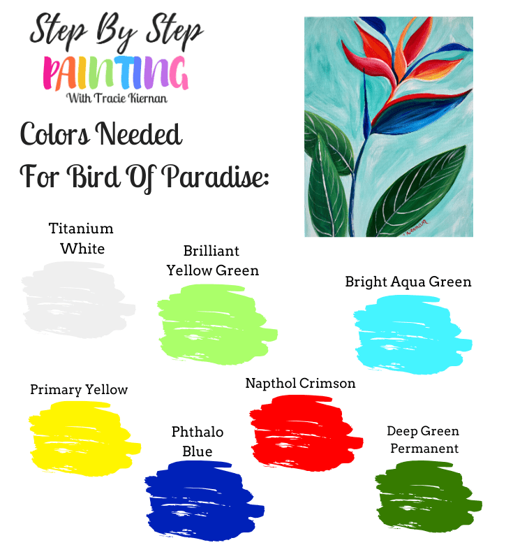 Paint colors used in this bird of paradise painting