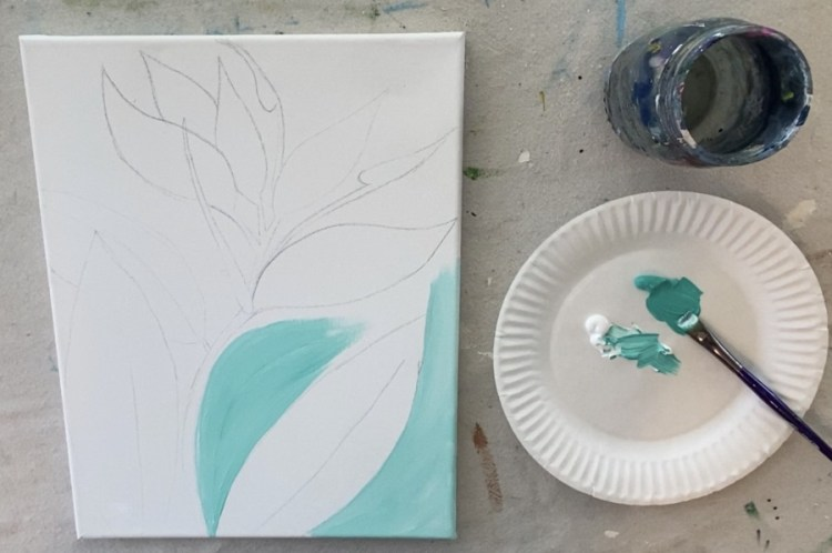 Painting the background aqua and white