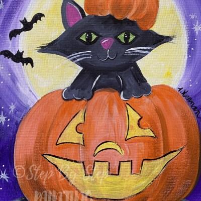 Halloween Cat Inside Pumpkin Painting Tutorial