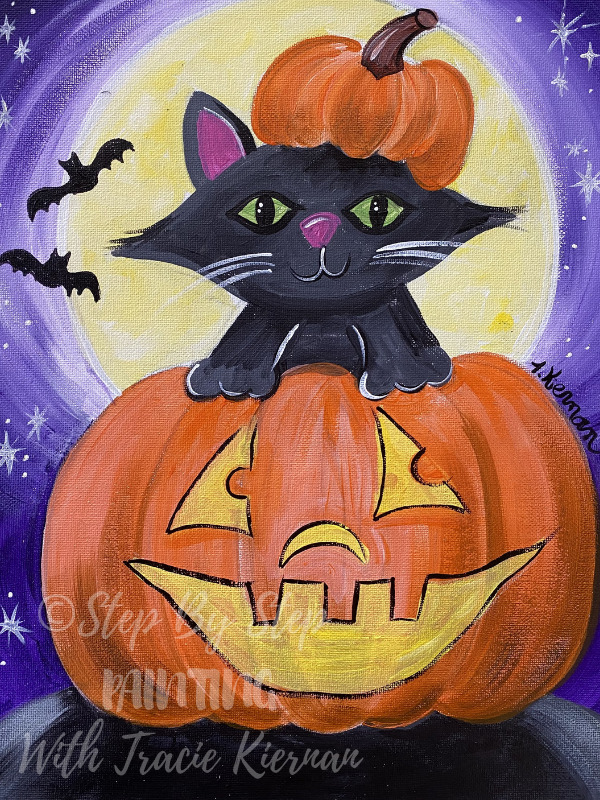 Halloween Kitty Step By Step Painting