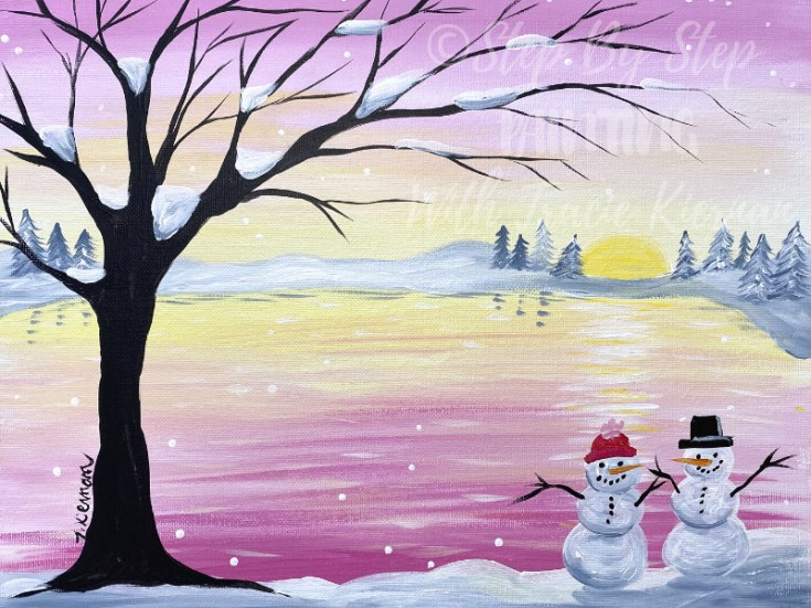 Pastel Winter Sunset With Snowmen Painting