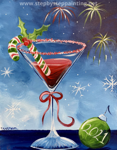 Candy Cane Martini Painting