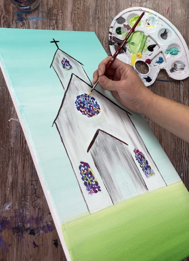 Church painting tutorial. Demonstrating how to paint the stained glass windows.