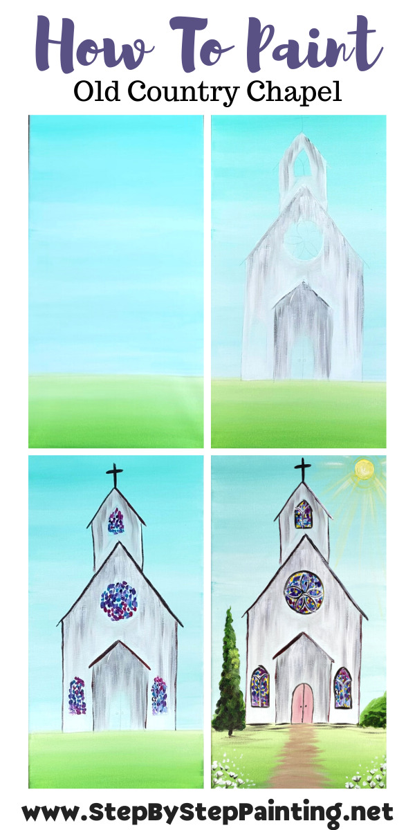 Step by step instructions for how to create a church painting.