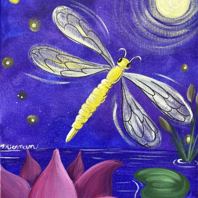How To Paint A Dragonfly Over Lotus Pond