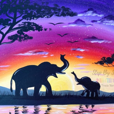 African Elephant Sunset Painting